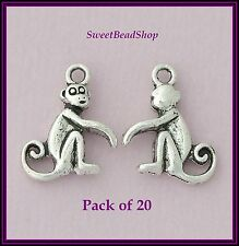 20 De Plata Antigua Color 16 X 13 Mm Cute Monkey encantos