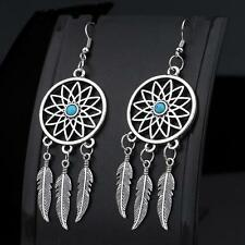 Stylish Silver Feathers Turquoise Dream Catcher Ear Stud Dangle Earrings Jewelry
