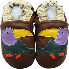 carozoo toucan brown 3-4t soft sole leather baby shoes