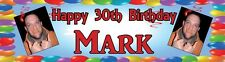 Personalized Birthday Party Banner Poster w photo -18th, 21st, 30th, 40th, 50th