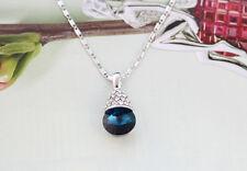 1PCS bleu paon cristal satellite pierre pave strass pendentif chaîne collier