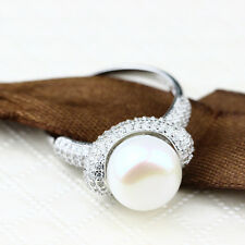 White Sapphire Birthstone Silver Filled Wedding Bridal Pearl Ring Gift Size 8