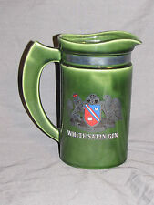 "Sir Robert Burnett's White Satin Gin 7"" green ceramic Bar Pitcher shield Emblem"