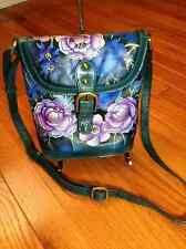 SHARIF GENUINE LEATHER HAND PAINTED ~ FLORAL ~ CROSS BODY BAG, TEAL BLUE, PURPLE