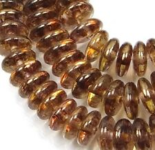 50 Czech Glass Rondelle Beads Luster - Transparent Gold/Sm.Topaz  6x2mm