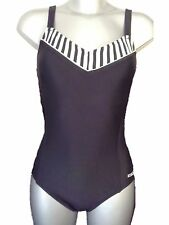 New Black & White Swimsuit UK 10 Ladies Bathing Suit Swimming Costume No padding