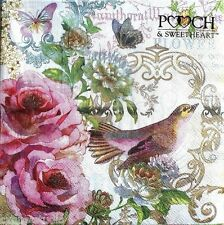 pOOCH & sWEETHEART Set of 40 Luncheon Decoupage Napkins - Rosy Sparrow