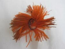 ANTIQUE VICTORIAN ORANGE FEATHER ROSETTE HAIR HAT MILLINERY PLUME c1900