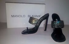 MANOLO BLAHNIK Black Telo Sandals w Crystals Summer Wedding SHOES Size 41 US 10