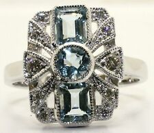 18ct. White Gold Art Deco Style Aquamarine and Diamond Cluster RIng