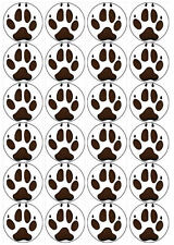 CAST IMAGE WOLF PAW PRINTS 20 x 50mm Edible Cake Toppers printed on Wafer Paper