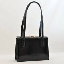 Authentic  Salvatore Ferragamo Gancini Hand Bag 2way Leather Black #S3028 E