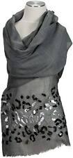 Schal Grau Abend Stola Hand bestickt stole Wolle wool  hand embroidered grey