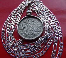 "1928-1936 ENGLISH SILVER SIXPENCE on a 30""- 76cm .925  STERLING SILVER CHAIN"