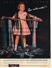 PUBLICITE ADVERTISING 124  1958  ORGANSIN RHODIA  CRYLOR  cravate