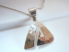 Hammered Cut Out Triangle Pendant 925 Sterling Silver Corona Sun Jewelry