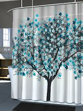 Modern Bathroom Home Accent Light Blue Trees Teal Leaves Shower Curtain