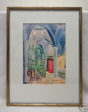 Signed Synagogue in Safad Watercolor Print w. Antique Gold Finish Frame 14x18""