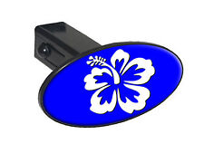 "Hibiscus Flower White On Blue - 1.25"" Tow Trailer Hitch Cover Plug Insert"
