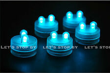 10 TEAL SUPER Bright Dual LED Tea Light Submersible Floralyte Party Wedding