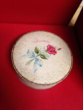 Vintage Avon 1950s Quaintance Dusting Powder Talcum Box Can Puff SEALED Rose Tin