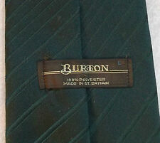 BURTON VINTAGE WIDE TIE RETRO 1970s 1980s MOD PLAIN DARK BRITISH RACING GREEN