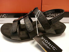 VIONIC W/ ORTHAHEEL TECHNOLOGY WOMENS SANDALS AMBER BLACK CROC SIZE 8