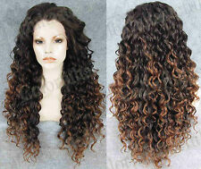 Two tone Long curly Front lace wig full wigs lace front wavy Brown hair wig +CAP