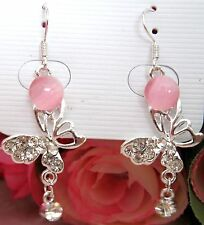 Girls/Ladies Crystal Butterfly Rhinestone Earrings new