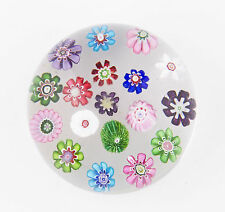 antique Clichy spaced millefiori 18 cane paperweight with white rose cane