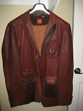 Hugo Boss Blazer Jacket Lamb Leather Suit Coat Brown Tan Orange Label RARE!