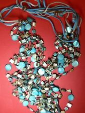 A Simply Stunning Turquoise & Silvery Grey Shell Necklace.  Costume Jewellery