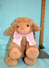 """Holiday Home EASTER Plush LAMB Baby Gift Shower PINK  BOW Collect Toy 10"""""""