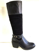 LADIES WOMENS BLACK KNEE HIGH LEATHER AND SUEDE FAUX MID HEEL BOOTS SHOES SIZE 6