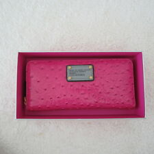 NWT Marc By Marc Jacobs Classic Q Ostrich-Embossed Zip Around Wallet-Pop Pink