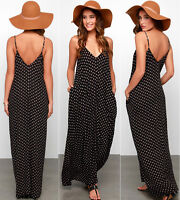 Fashion Sexy Women Boho Long Maxi Polka Dot Dress Beach Dresses Chiffon Dress