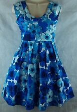 Rare Editions Blue Floral Party Dress Size 16 Sleeveless Built in Petticoat