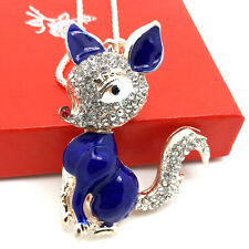 Fashion gold-plated Blue Fox pendant Crystal Sweater chain Long Necklace FF102