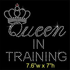 'Queen In Training' Rhinestone Transfer Hotfix Iron on Appliqué and Free Gift
