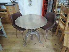 INDUSTRIAL RECLAIMED SILVER CAST IRON AND STEEL TABLE 77CM DIAMETER CODE 9395