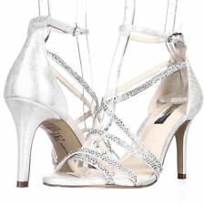 $89 INC International Co GEMM2 Strappy Heels Silver Open Toe Sandals Shoes 6 M