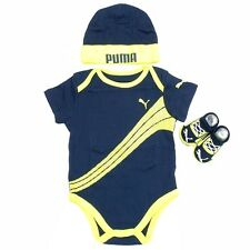 Puma Infant Form Stripe Cotton 3-Piece Navy Set (Hat, OneZ & Booties) Sz: 0-6M