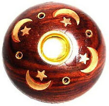 Celestial Wooden Incense Burner, Brass Inlay for Cones & Sticks (Sun Moon Stars)