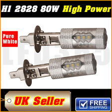 2X 80W H1 Pure White Fog Light Turn DRL Car Brake Driving LED Light Bulb 6000K