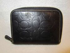 Coach Black Embossed Leather Zip Around Wallet