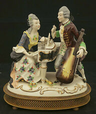 1920  German Volkstedt Porcelain Dresden Large Figurine Group Music Box WORKS