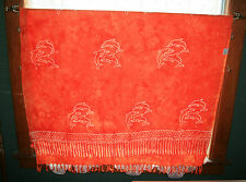 ORANGE SARONG FRINGED BEACH COVER-UP WRAP DOLPHINS 46 X 66 CURTAIN TABLECLOTH?