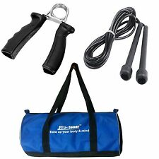 Protoner Gym Essentials Gym Bag , Skipping rope  & Hand Grip Exerciser