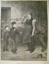 THE BROKEN HOOP BLACKSMITH & CHILDREN BY ROBERT BARNES HARPER'S WEEKLY 1876