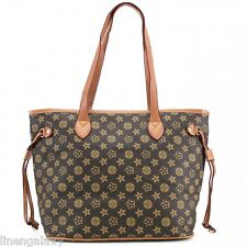 Women Brown Floral Handbag Shoulder Messenger Tote Ladies Crossbody Satchel Bag